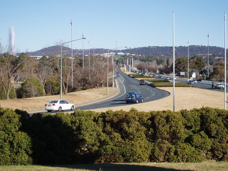 View from City Hill looking south along Commonwealth Avenue to Old and New Parliament House