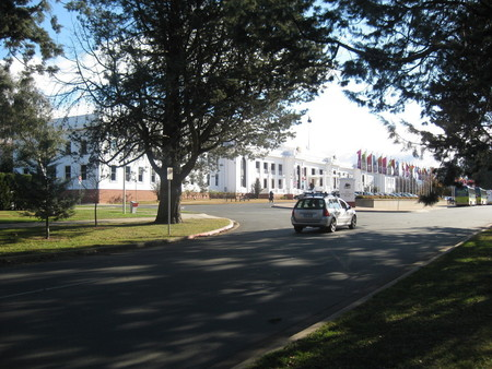 Old Parliament House from edge of rose garden on King George Terrace
