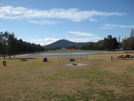 Current day view from front lawn of Old Parliament House towards Mt Ainslie