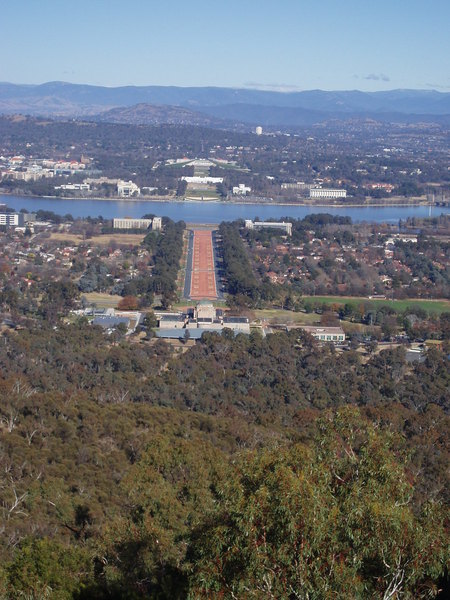 View of Anzac Parade from Mt Ainslie look out