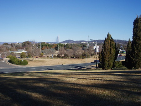 View from City Hill in the direction of Old Parliament House with Commonwealth Avenue heading south on the right